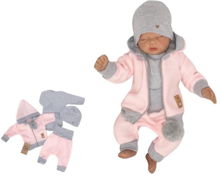 Z&Z 4-dílná pletená soupravička, kabátek, tepláčky, čepička a body, růžová-šedá, vel. 80