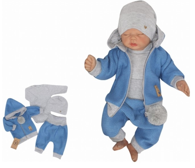 Z&Z 4-dílná pletená soupravička, kabátek, tepláčky, čepička a body, modrá-šedá, vel. 80
