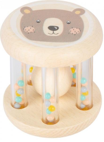 Small Foot Dětské dřevěné chrastítko s kuličkami v pastelových barvách - Medvídek