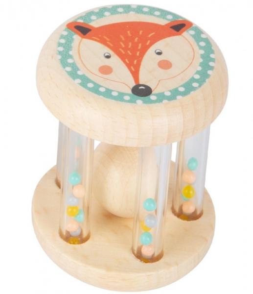 Small Foot Dětské dřevěné chrastítko s kuličkami v pastelových barvách - Liška