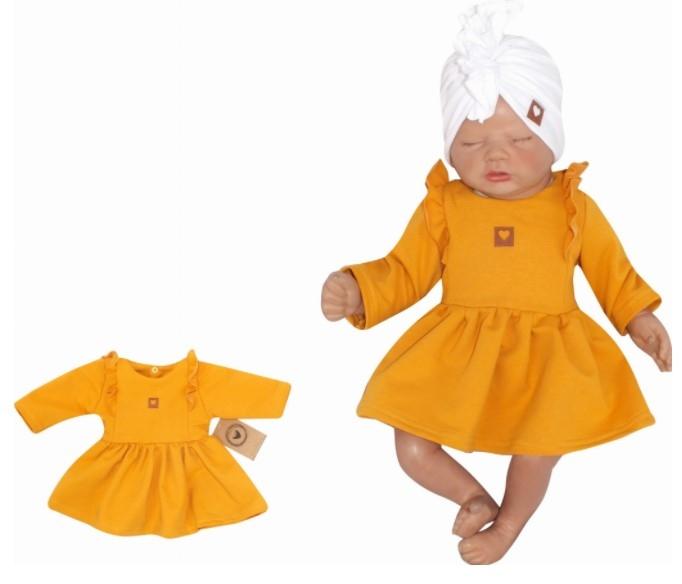 Z&Z Dětské teplákové šatičky/tunika Princess - hořčicové, Velikost: 56 (1-2m)