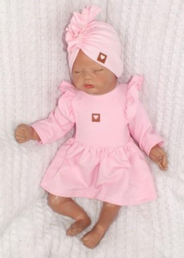 Z&Z Dětské teplákové šatičky/tunika Princess - růžové, vel. 68
