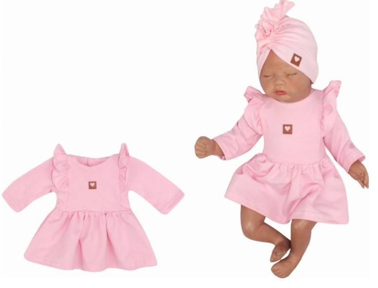 Z&Z Dětské teplákové šatičky/tunika Princess - růžové, vel. 86
