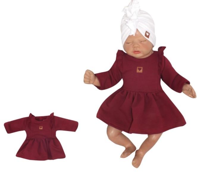 Z&Z Dětské teplákové šatičky/tunika Princess - bordó, vel. 68