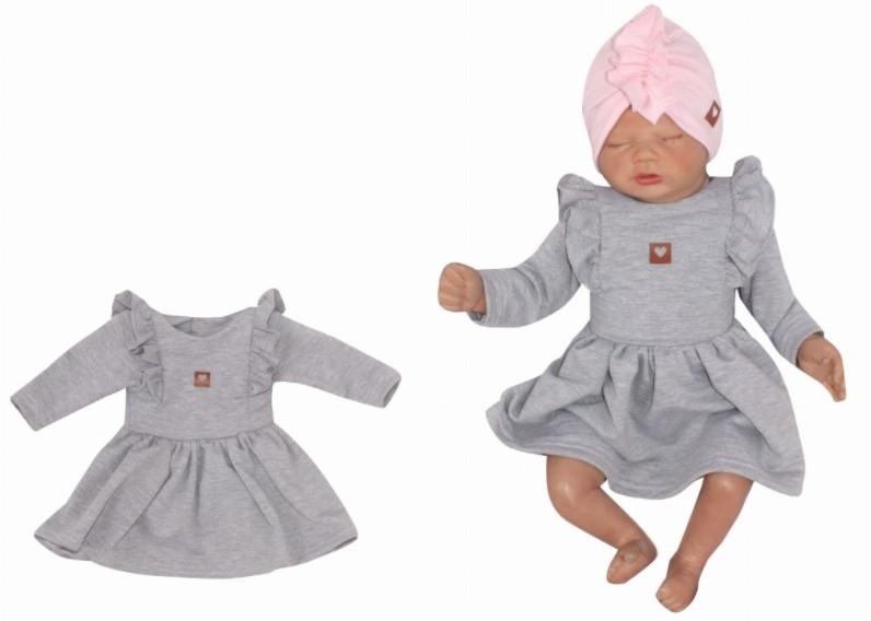 Z&Z Dětské teplákové šatičky/tunika Princess - šedé, vel. 68