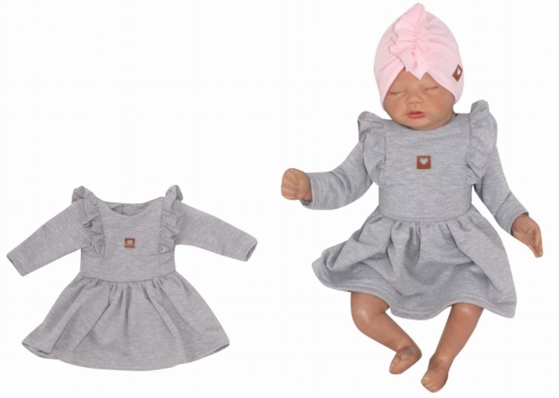 Z&Z Dětské teplákové šatičky/tunika Princess - šedé, vel. 74, Velikost: 74 (6-9m)