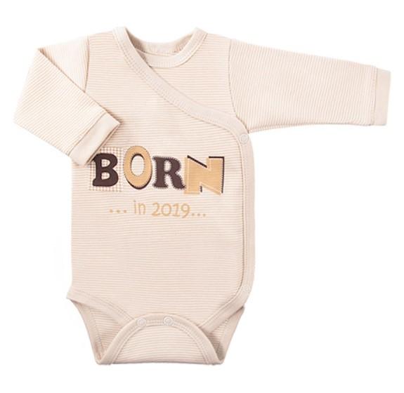 EEVI Kojenecké body dl. rukáv, zapínání bokem Happy Baby  - béžové