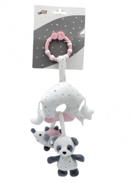 Tulilo Závěsná plyšová hračka s rolničkou Medvídek Panda - růžový