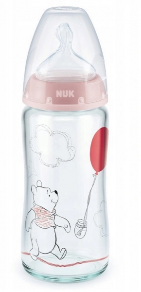 NUK Antikoliková skleněná lahvička FIRST CHOICE Medvídek Pooh 0-6 m - pudrová