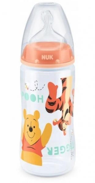 NUK Antikoliková lahvička  First Choice Medvídek Pooh a tygřík, 300 ml - oranžová