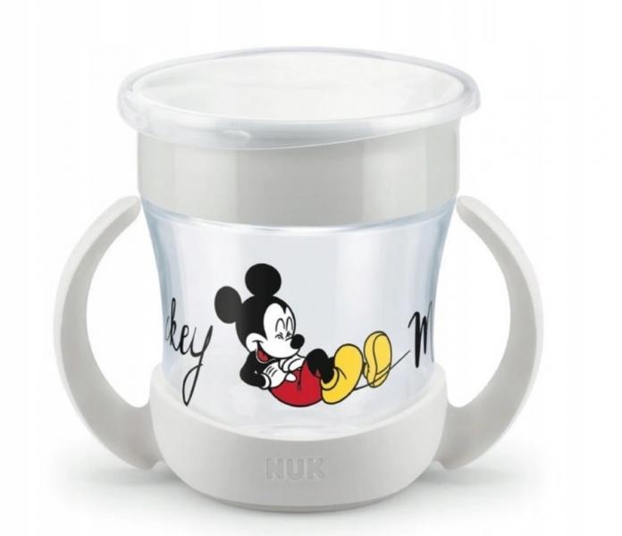 Hrneček NUK Mini magic Cup s úchyty Mickey, šedý, 6 m+