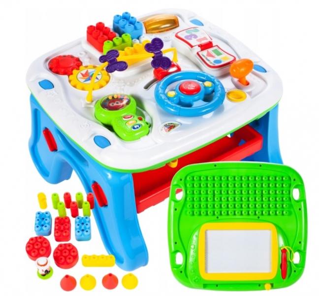 Tulimi Interaktivní stoleček s mazací tabulkou a doplňky, modrý