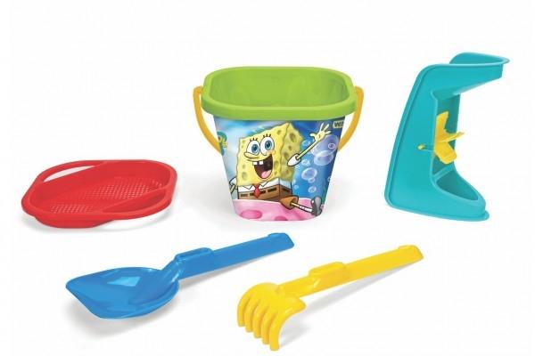 Sada na písek 5ks Sponge Bob plast 3 druhy v síťce 20x26x20cm 12m+ Wader