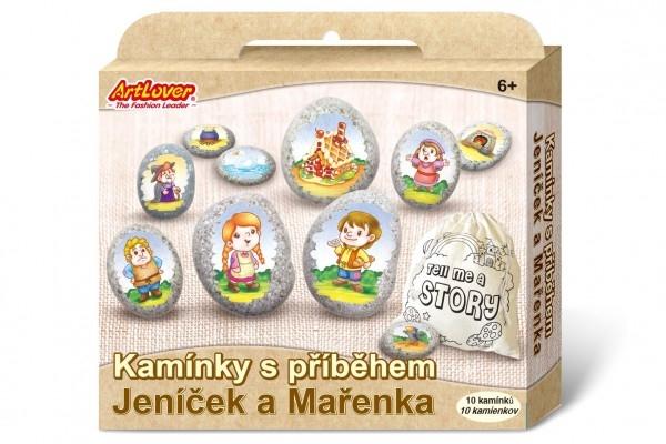 Malování na oblázky/kameny s příběhem Jeníček a Mařenka  kreativní sada  v krabičce 1