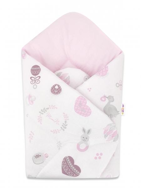 Baby Nellys  novorozenecká zavinovačka, New Love Baby, růžová