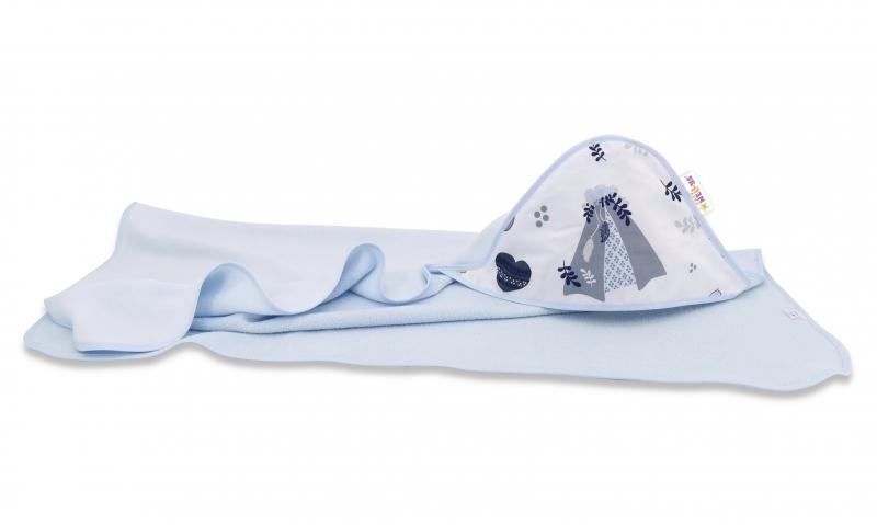 Dětská termoosuška s kapucí Baby Nellys, New Love Baby 100 x 100 cm, modrá