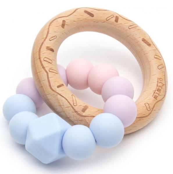 Mimijo Silikonové kousátko Donut - Love, růžovo/modrý