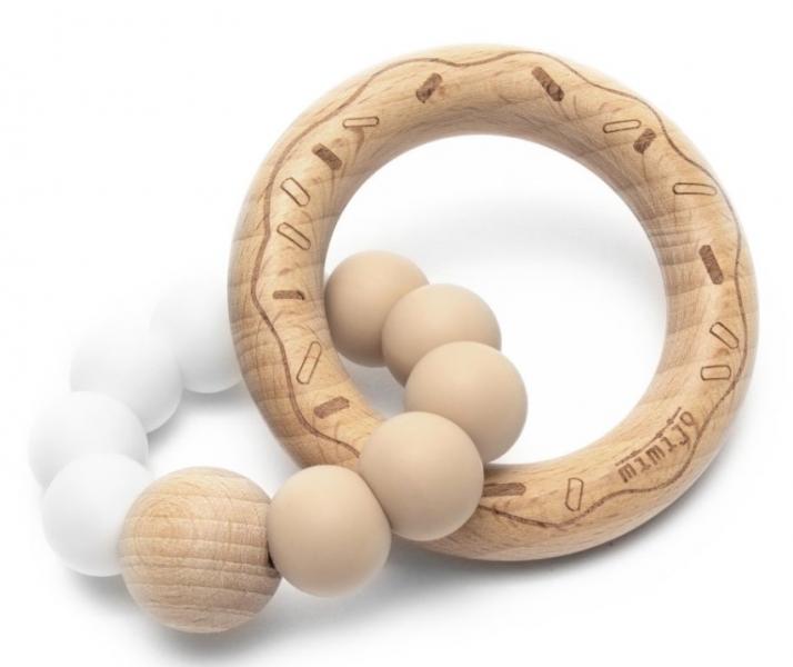Mimijo Silikonové kousátko Donut - bílo/béžový