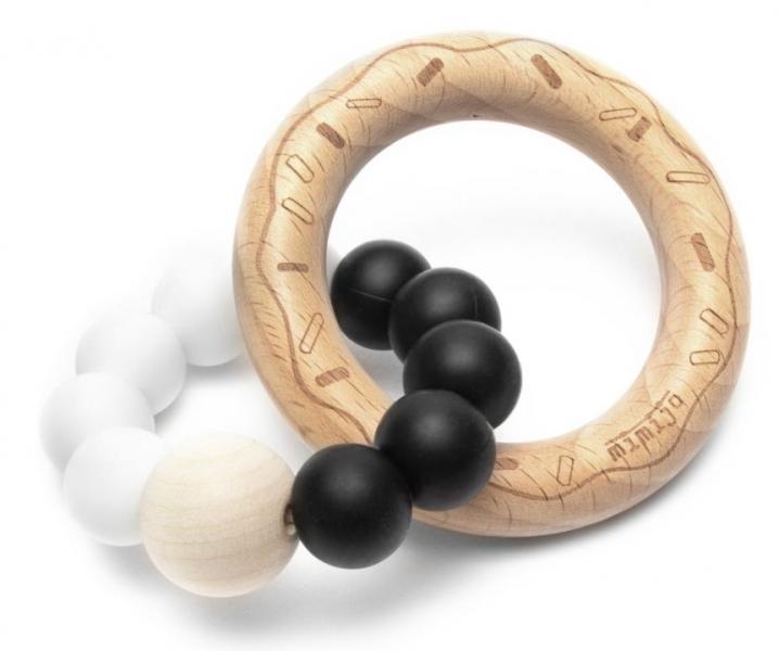 Mimijo Silikonové kousátko Donut - bílo/černý