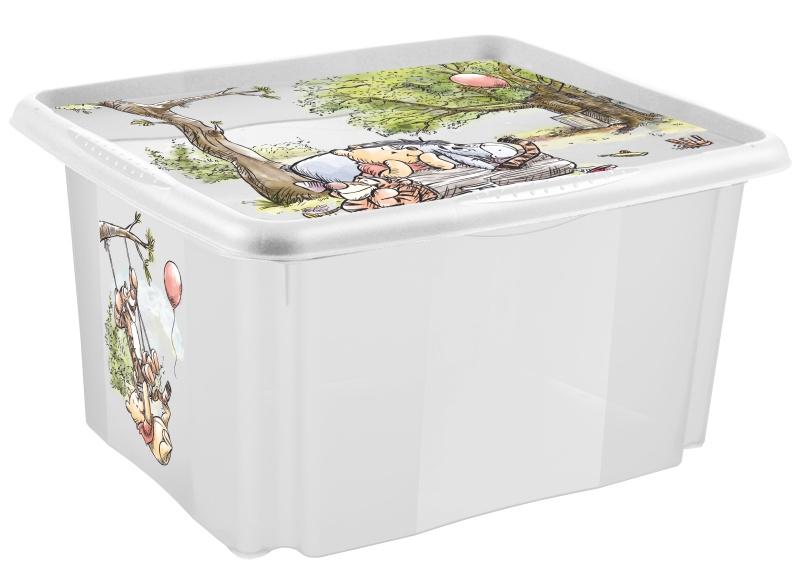 Keeeper Box na hračky Medvídek Pú a přátelé 45 l - transparentní