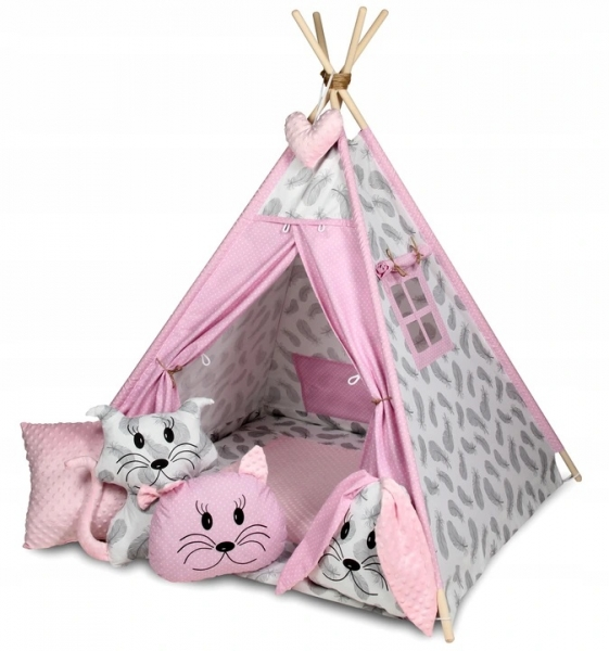 Baby Nellys Stan pro děti týpí s velkou výbavou, čtyři polštářky + podložka, šedá, růžová