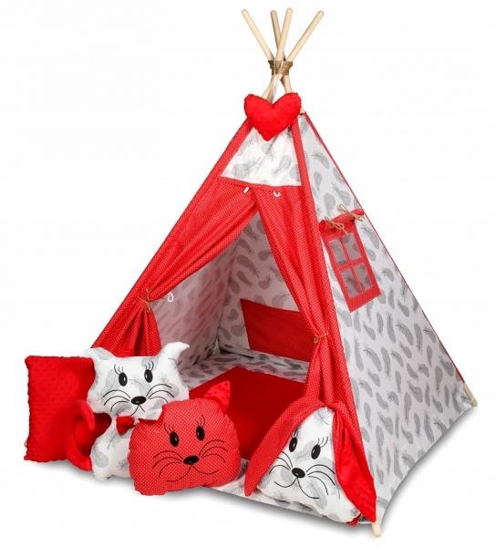 Baby Nellys Stan pro děti týpí s velkou výbavou, čtyři polštářky + podložka, šedá, červená