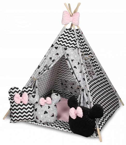 Baby Nellys Stan pro děti týpí s velkou výbavou, Zig zag, šedá, černá, růžová