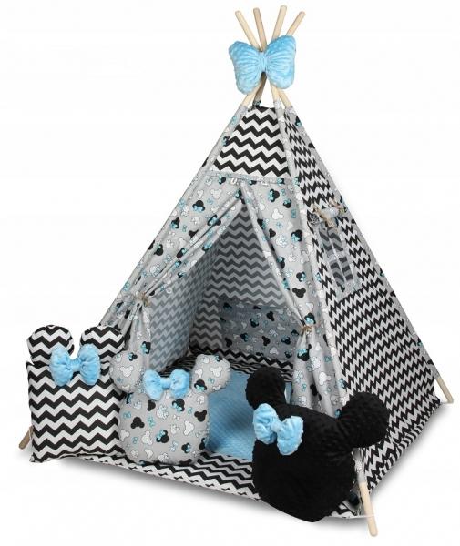 Baby Nellys Stan pro děti týpí s velkou výbavou, Zig zag, šedá, černá, modrá
