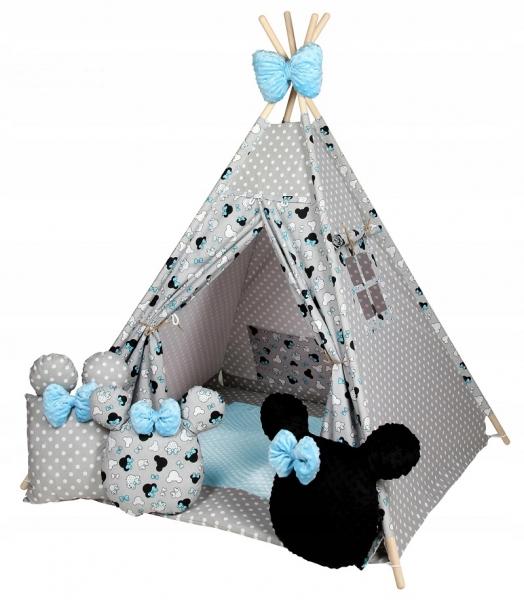 Baby Nellys Stan pro děti týpí s velkou výbavou,Minnie, šedá, černá, modrá