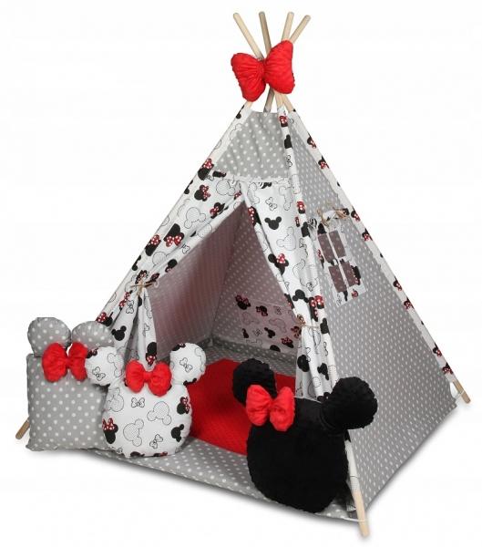 Baby Nellys Stan pro děti týpí s velkou výbavou,Minnie, bílá, černá, červená