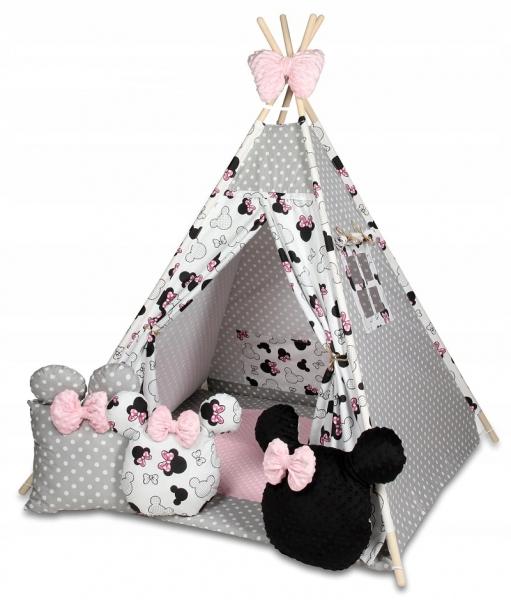 Baby Nellys Stan pro děti týpí s velkou výbavou,Minnie, bílá, černá, růžová