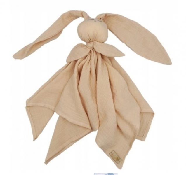 Hug Me Bunny Mušelínový mazlík, plenka s oušky 65 x 60 cm, cappucino