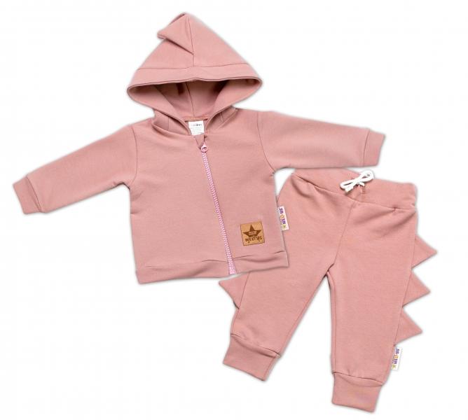 BABY NELLYS Dětská tepláková souprava s kapucí Krokodýl - pudrově růžová, starorůžová, Velikost: 56 (1-2m)