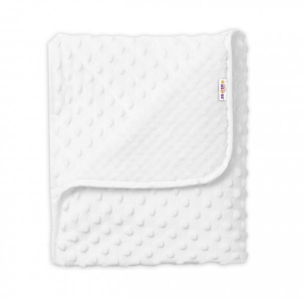 Baby Nellys Dětská luxusní oboustranná deka s minky 80x90 cm, bílá