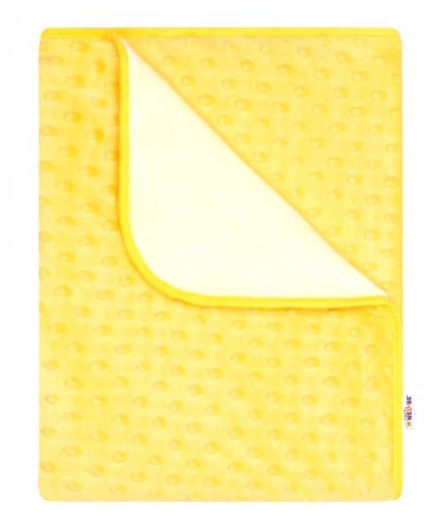 Baby Nellys Dětská luxusní oboustranná deka s minky 80x90 cm, žlutá/bílá