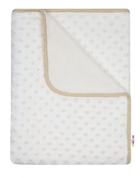 Baby Nellys Dětská luxusní oboustranná deka s minky 80x90 cm, béžová