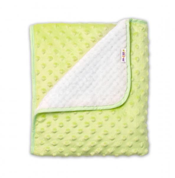Baby Nellys Dětská luxusní oboustranná deka s minky 80x90 cm, zelená/krémová