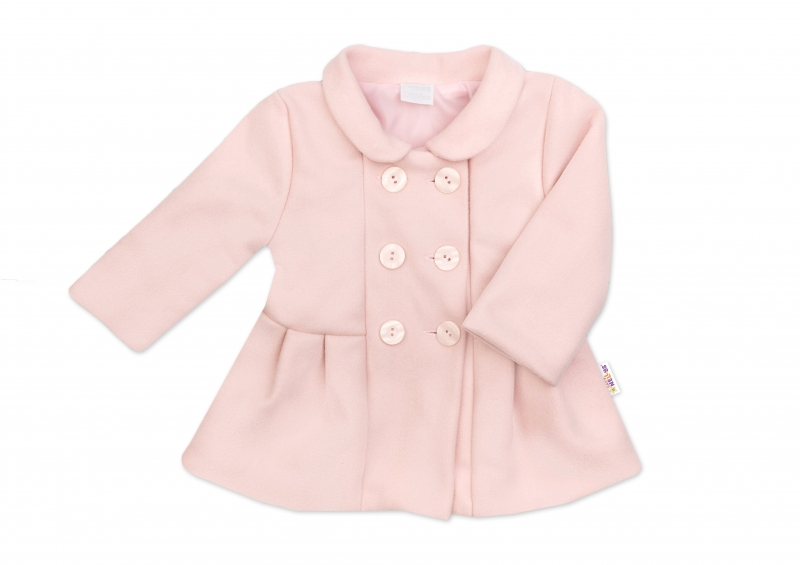Baby Nellys Kojenecký flaušový kabátek, pudrově růžový, vel. 62