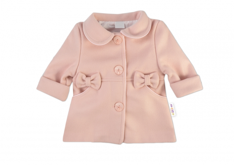 Baby Nellys Dětský flaušový kabátek s mašličkami, pudrově růžový, vel. 86