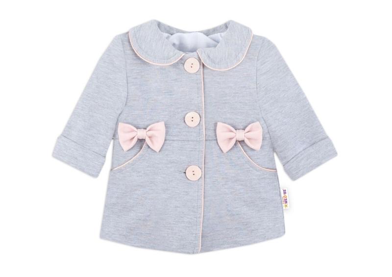 Baby Nellys Kojenecký bavlněný  kabátek s mašličkami, šedý, vel. 62
