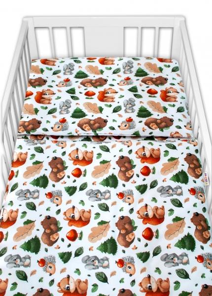 Baby Nellys 2-dílné bavlněné povlečení - Lesní školka,  bílá, 135 x 100