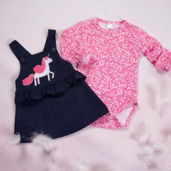 K-Baby Sada/Kojenecké body + sukně s láclem, džínová, vel. 98