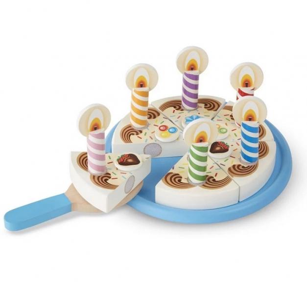Melissa&Doug  Dřevěný narozeninový dort na hraní, modrý