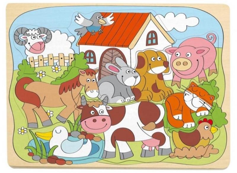 Woody Naučné dřevěné puzzle - Farma