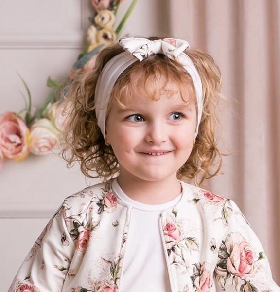 G-Baby Čelenka s mašlí Růžičky - smetanová, 1-2 roky