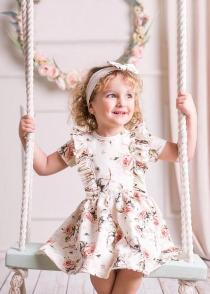 G-baby Letní šaty Růžičky s volánkem - smetanové