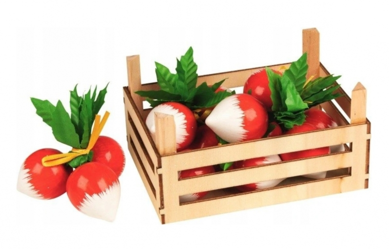 Goki Dřevěný košík s ředkvemi