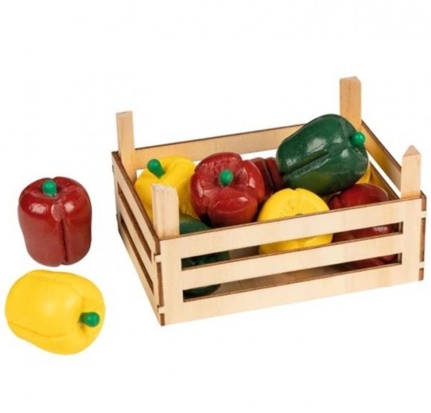 Goki Dřevěný košík s paprikou