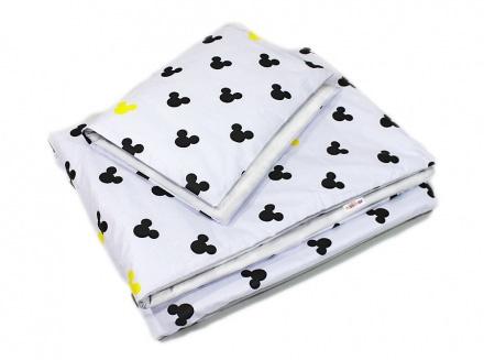 Baby Nellys 2-dílné povlečení Mickey, bavlněné - bílá, žlutá
