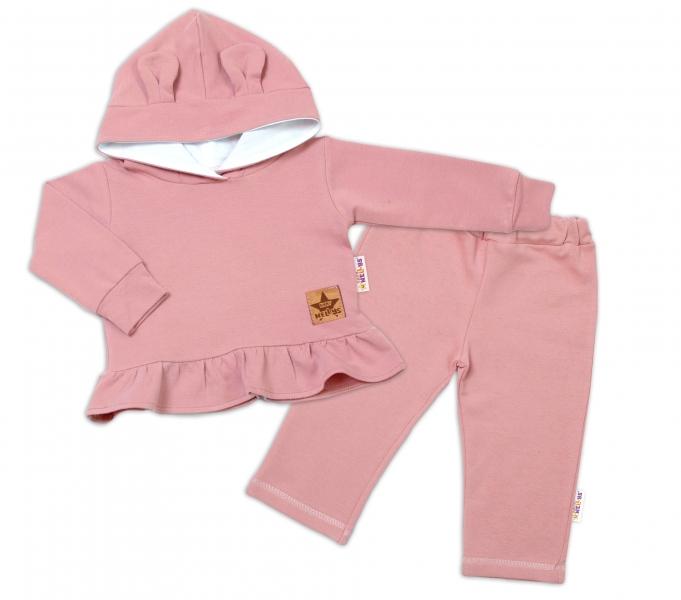 BABY NELLYS Dětská tepláková souprava s kapucí a oušky, pudrově růžová, starorůžová